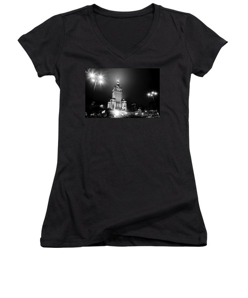 Warsaw Poland Downtown Skyline At Night Women's V-Neck T-Shirt