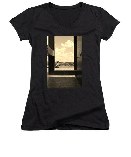 Washington Dc Framed Women's V-Neck T-Shirt (Junior Cut) by Jean Goodwin Brooks