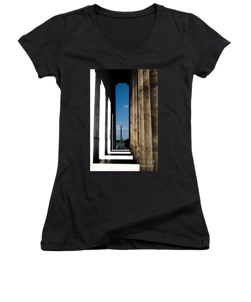 Washington Monument Color Women's V-Neck T-Shirt (Junior Cut) by Angela DeFrias