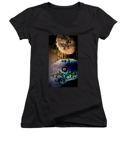 Women's V-Neck T-Shirt (Junior Cut) featuring the mixed media Watching by Ally  White