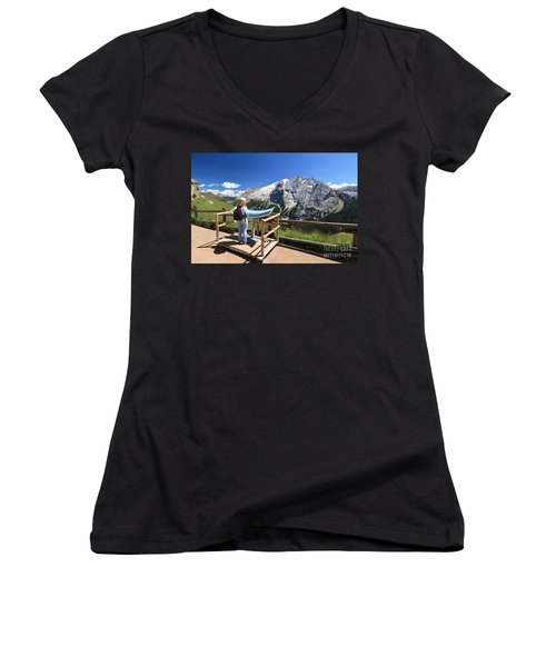 watching Marmolada mount Women's V-Neck T-Shirt (Junior Cut) by Antonio Scarpi