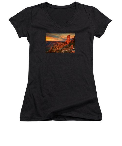 Women's V-Neck T-Shirt (Junior Cut) featuring the photograph Watchtower Sunset by Priscilla Burgers