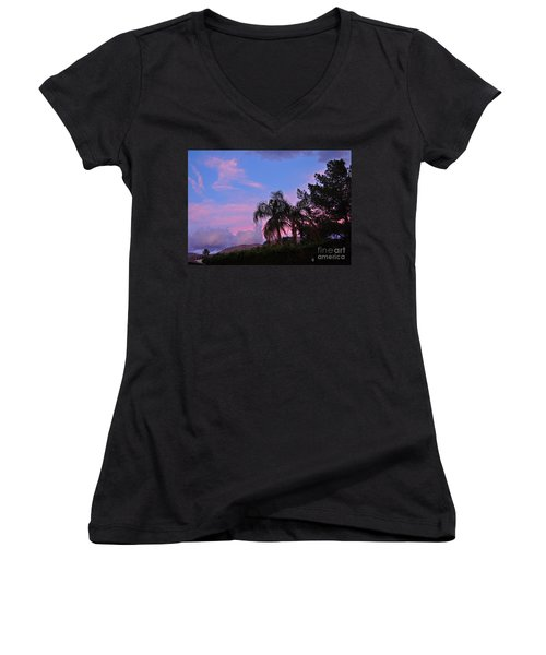 Water Colored Sky Women's V-Neck T-Shirt (Junior Cut) by Jay Milo