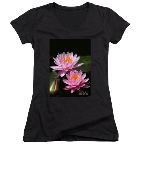 Water Lilies Love The Sun Women's V-Neck T-Shirt