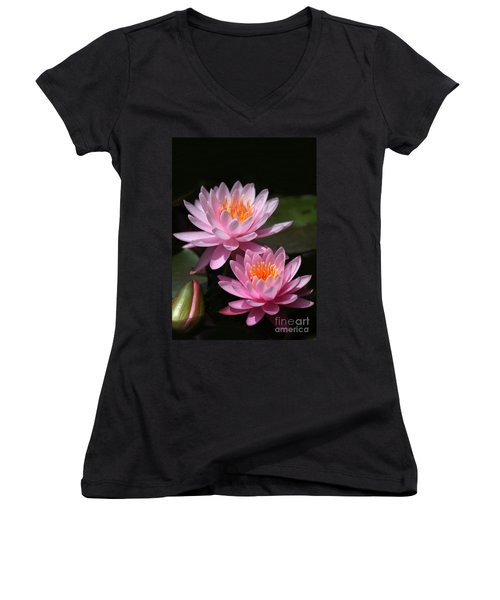 Water Lilies Love The Sun Women's V-Neck (Athletic Fit)