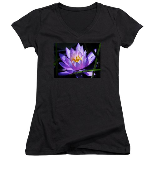 Water Lily Blues Women's V-Neck (Athletic Fit)