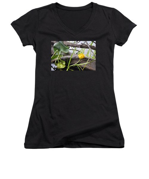 Women's V-Neck T-Shirt (Junior Cut) featuring the photograph Water Lily by Cathy Mahnke