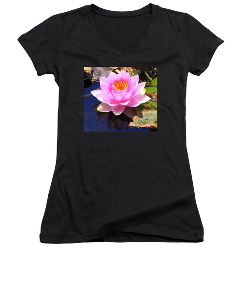 Water Lily In Pink Women's V-Neck (Athletic Fit)