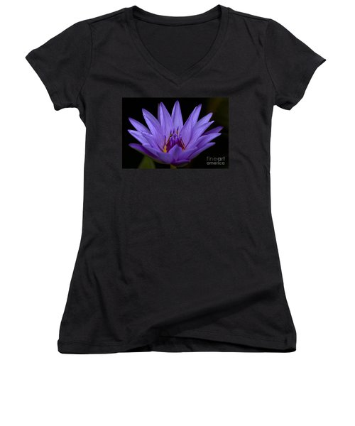 Women's V-Neck T-Shirt (Junior Cut) featuring the photograph Water Lily Photo by Meg Rousher