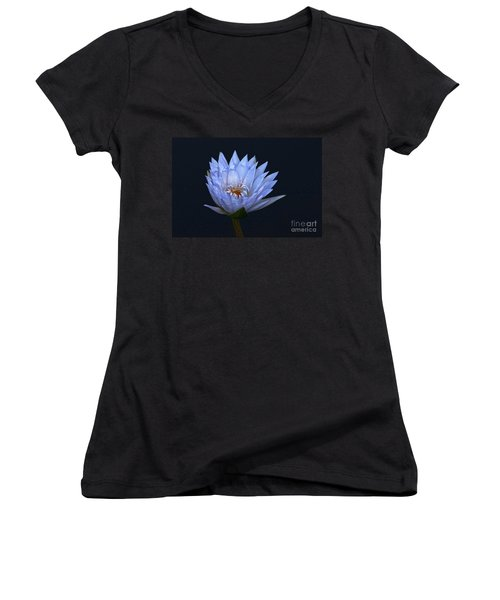 Women's V-Neck featuring the photograph Water Lily Shades Of Blue And Lavender by Byron Varvarigos