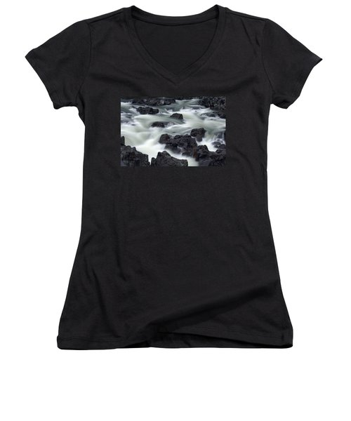 Water Over Rocks Women's V-Neck (Athletic Fit)