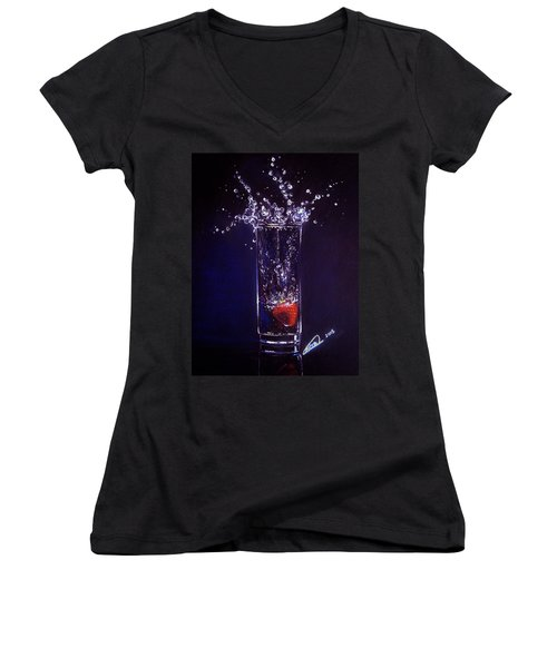 Water Splash Reflection Women's V-Neck (Athletic Fit)