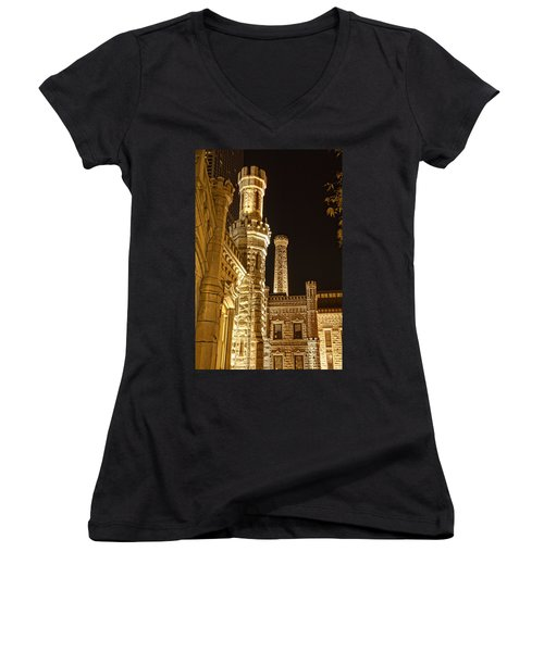 Women's V-Neck T-Shirt (Junior Cut) featuring the photograph Water Tower At Night by Daniel Sheldon