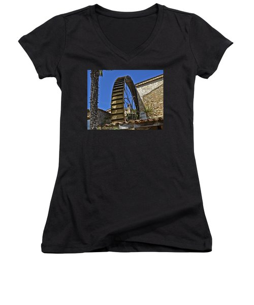 Women's V-Neck T-Shirt (Junior Cut) featuring the photograph Water Wheel At Moulin A Huile Michel by Allen Sheffield