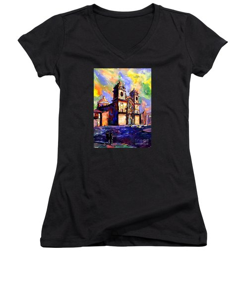 Watercolor Painting Of Church On The Plaza De Armas Cusco Peru Women's V-Neck T-Shirt (Junior Cut) by Ryan Fox