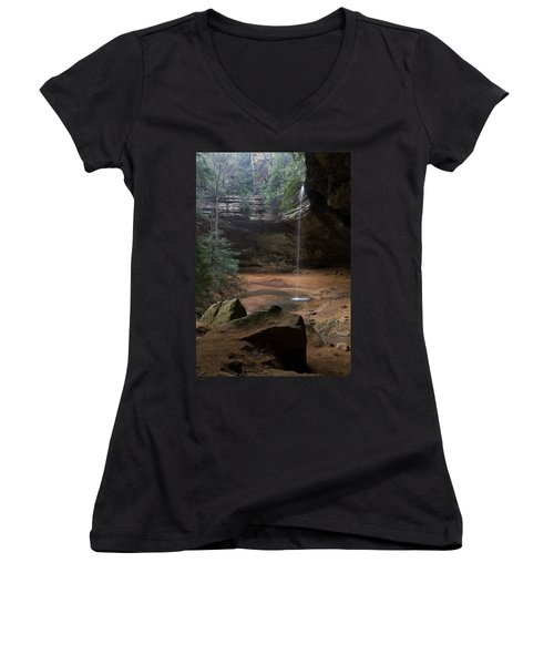 Waterfall At Ash Cave Women's V-Neck (Athletic Fit)