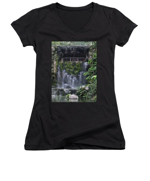 Women's V-Neck T-Shirt (Junior Cut) featuring the painting Waterfall by Sergey Lukashin