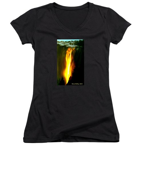 Women's V-Neck T-Shirt (Junior Cut) featuring the painting Waterfalls By Light by Bruce Nutting