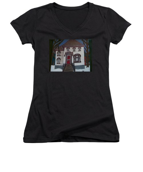 Women's V-Neck T-Shirt (Junior Cut) featuring the drawing Historic 7th Street Home In Menominee by Jonathon Hansen