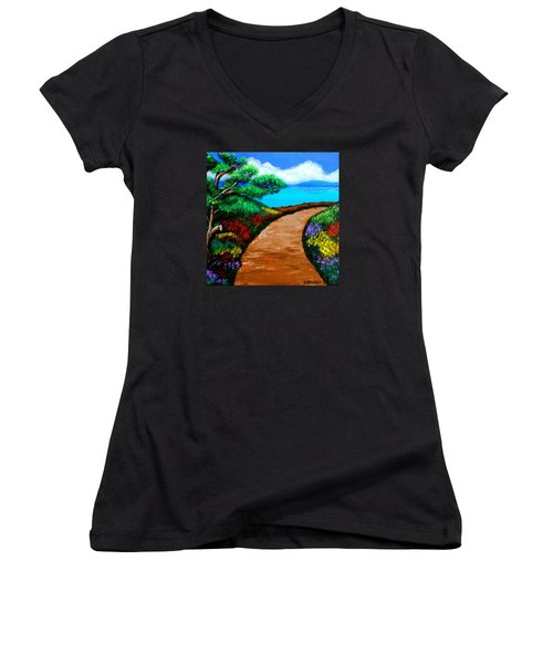 Way To The Sea Women's V-Neck (Athletic Fit)