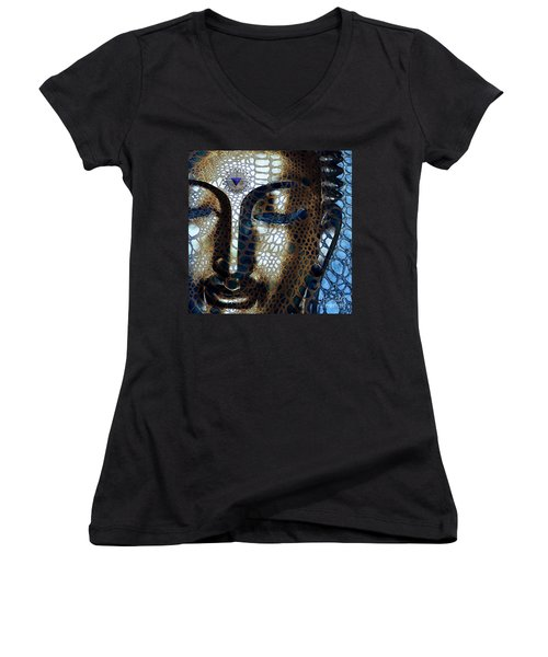 Web Of Dharma - Modern Blue Buddha Art Women's V-Neck T-Shirt (Junior Cut) by Christopher Beikmann