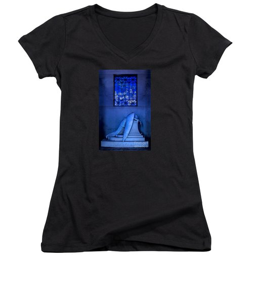 Weeping Angel Women's V-Neck T-Shirt (Junior Cut) by Jerry Fornarotto