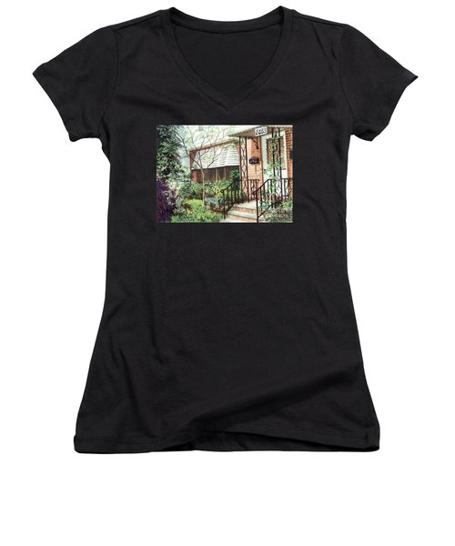 Women's V-Neck T-Shirt (Junior Cut) featuring the painting Welcome Home by Barbara Jewell