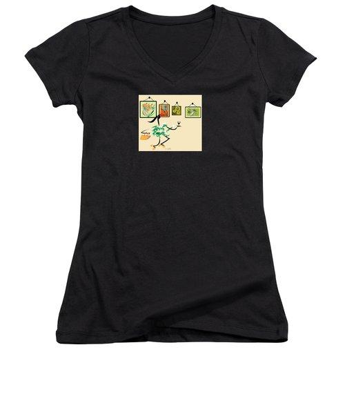 Welcome To My Art Show Women's V-Neck T-Shirt (Junior Cut) by Iris Gelbart
