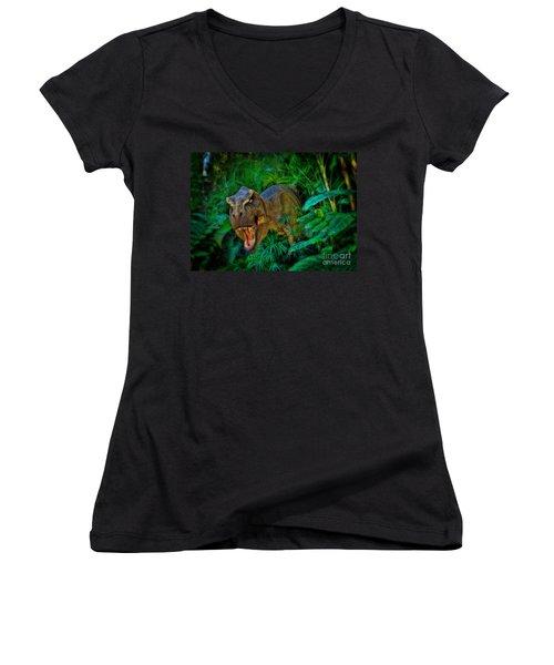 Welcome To My Park Tyrannosaurus Rex Women's V-Neck T-Shirt (Junior Cut) by Olga Hamilton