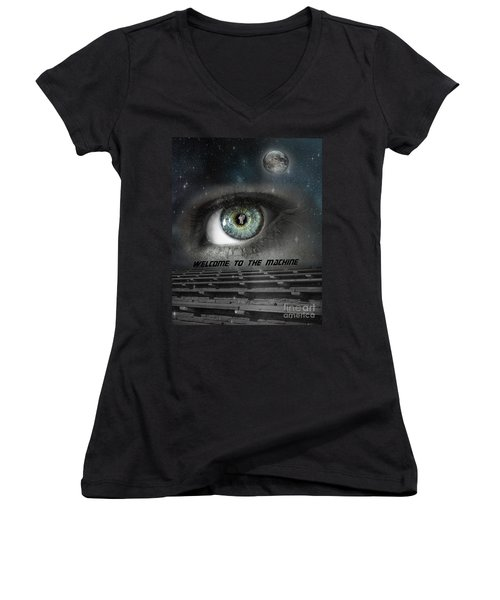 Welcome To The Machine Women's V-Neck (Athletic Fit)