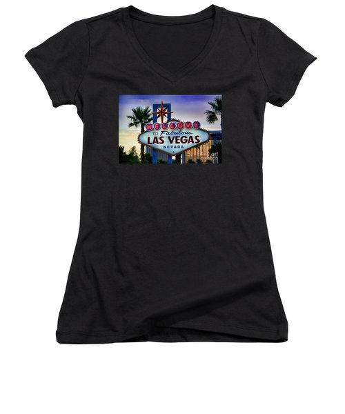 Welcome To Your Best Vacation Women's V-Neck T-Shirt (Junior Cut) by Kasia Bitner