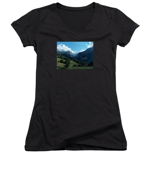 Wengen View Of The Alps Women's V-Neck (Athletic Fit)