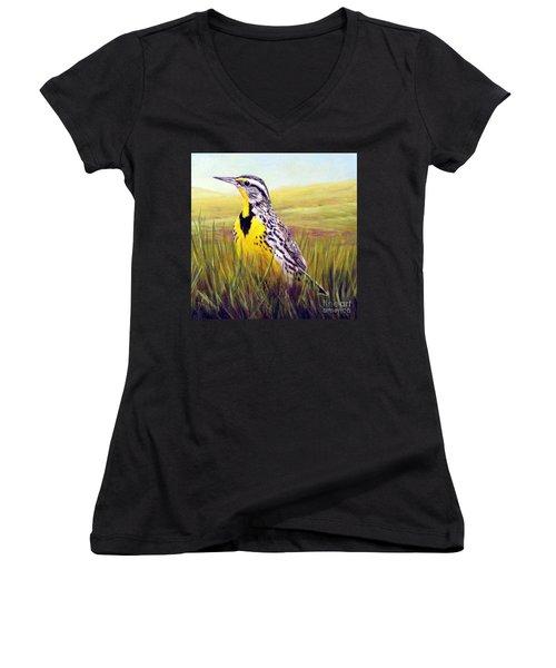 Western Meadowlark Women's V-Neck T-Shirt (Junior Cut) by Tom Chapman