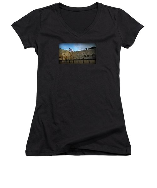 Western Wall And Israeli Flag Women's V-Neck T-Shirt (Junior Cut) by Stephen Stookey