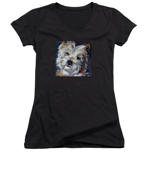 Women's V-Neck T-Shirt (Junior Cut) featuring the painting Westie Mix by Pattie Wall
