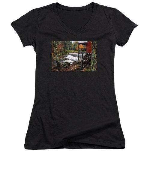 Weston Grist Mill Women's V-Neck T-Shirt (Junior Cut) by Priscilla Burgers