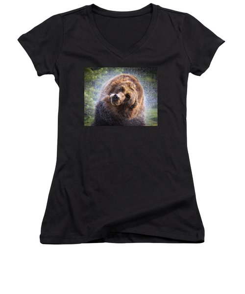 Wet Griz Women's V-Neck T-Shirt (Junior Cut) by Steve McKinzie