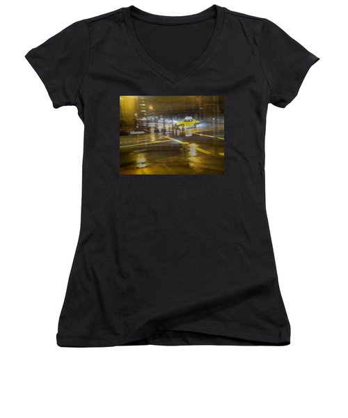 Women's V-Neck T-Shirt (Junior Cut) featuring the photograph Wet Pavement by Alex Lapidus