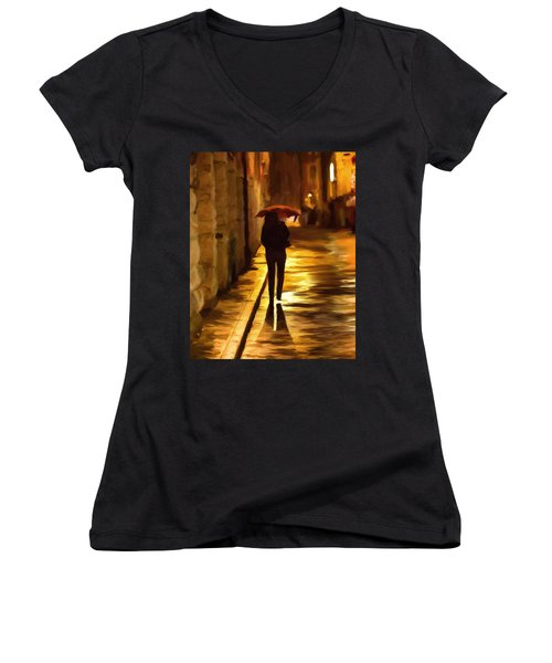 Wet Rainy Night Women's V-Neck T-Shirt (Junior Cut) by Michael Pickett