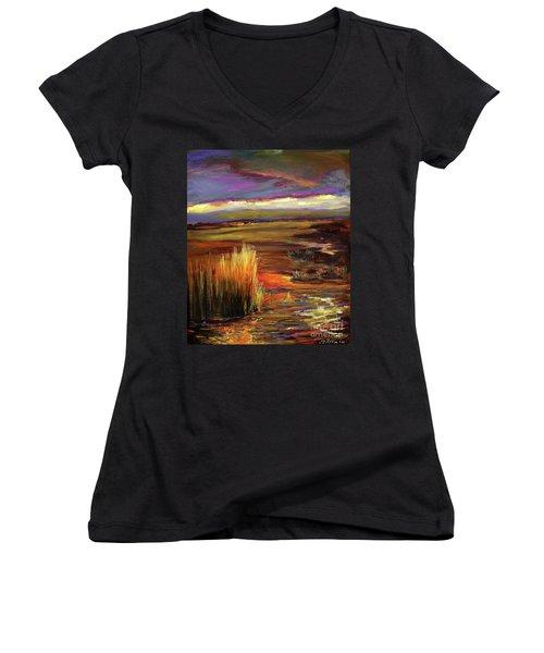 Wetlands Sunset Iv Women's V-Neck