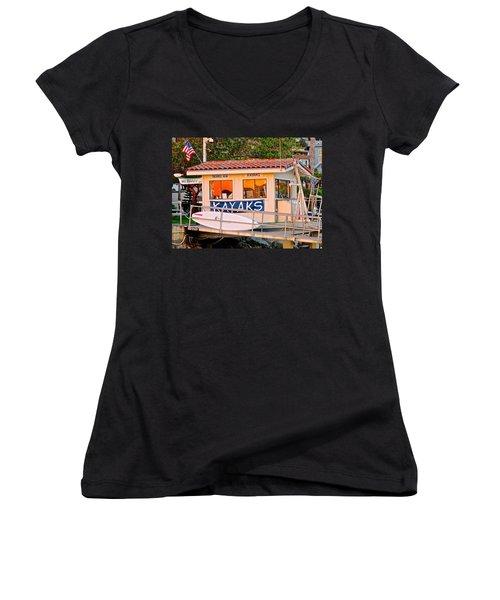 Wetspot Kayak Shack Women's V-Neck T-Shirt (Junior Cut) by Jeff Gater