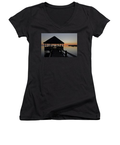 Women's V-Neck T-Shirt (Junior Cut) featuring the photograph Whalehead Sunset Obx by Greg Reed