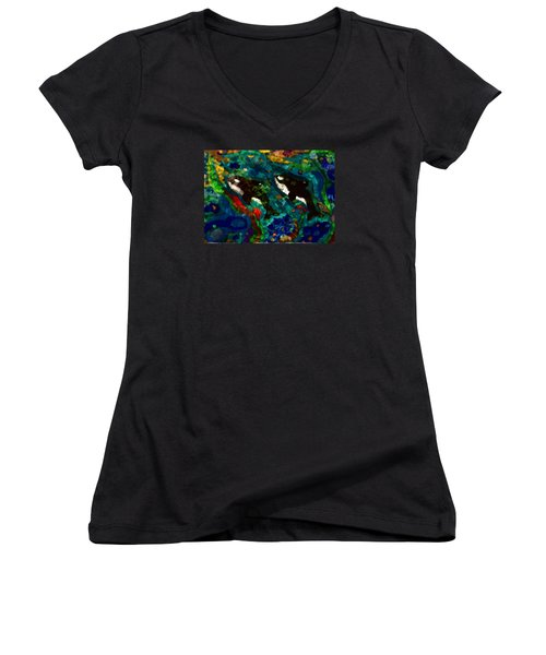 Whales At Sea - Orcas - Abstract Ink Painting Women's V-Neck T-Shirt