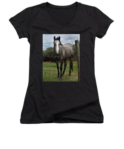 What Are You Afraid Of Women's V-Neck T-Shirt (Junior Cut) by Peter Piatt