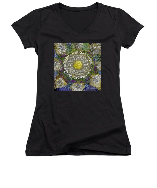 Women's V-Neck T-Shirt (Junior Cut) featuring the digital art What Kind Of Sun IIi by Carol Jacobs