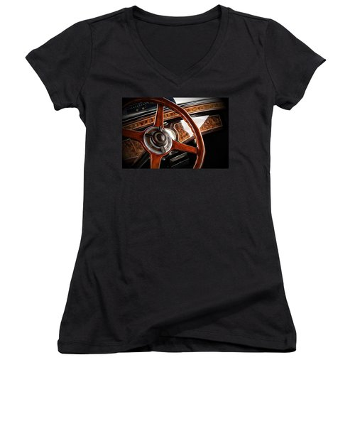 Aaron Berg Women's V-Neck T-Shirt (Junior Cut) featuring the photograph Wheel To The Past by Aaron Berg
