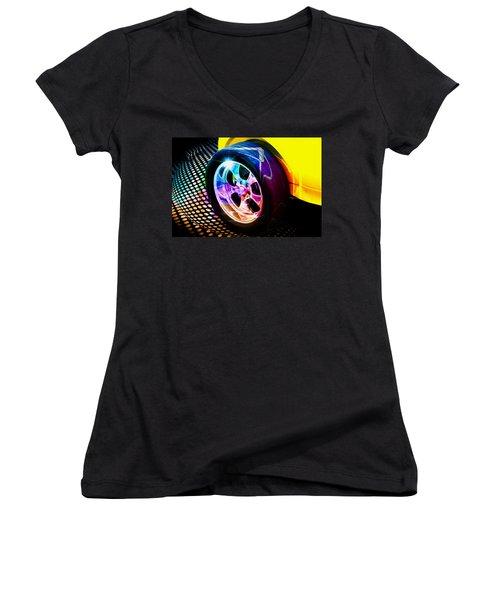 Women's V-Neck T-Shirt (Junior Cut) featuring the digital art Wheeled by Aaron Berg