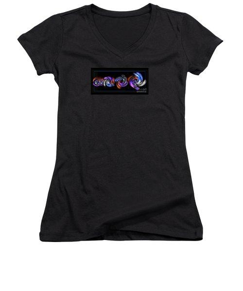 Wheels In Motion Women's V-Neck T-Shirt (Junior Cut) by Sue Stefanowicz