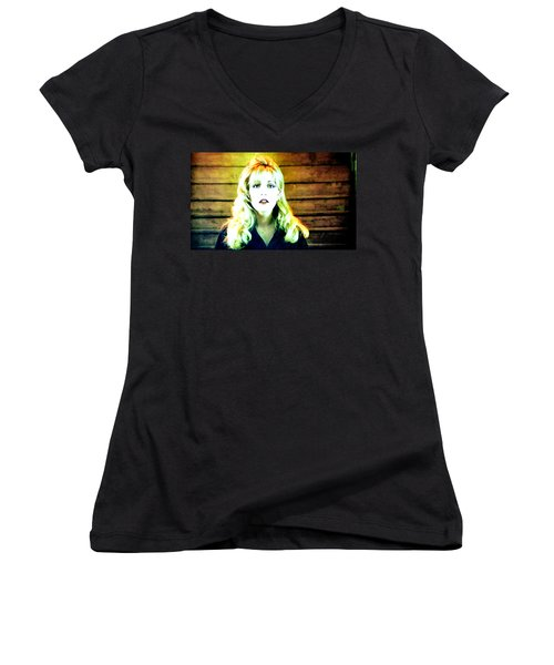 Women's V-Neck T-Shirt (Junior Cut) featuring the painting When All The World Seemed To Sleep by Luis Ludzska