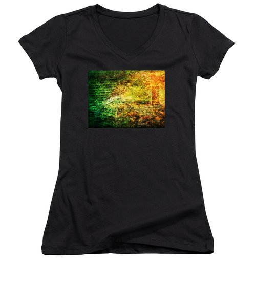 Women's V-Neck T-Shirt (Junior Cut) featuring the mixed media When Past And Present Intersect #1 by Sandy MacGowan